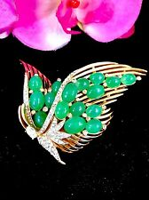 RARE STUNNING CROWN TRIFARI JEWELS OF INDIA JADE GLASS CABOCHON BUTTERFLY BROOCH