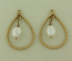 Authentic Pandora 250408P White Pearl Teardrop Drop Earrings 14K Gold