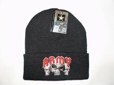 Black Embroidered Army Skulls Military US Stripe Stocking Cap Beanie Winter