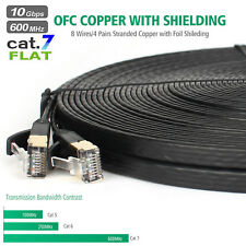 High Speed Cat7 Network LAN Cable SSTP RJ45 10Gbps Internet Flat Patch Cable Lot