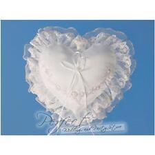 Blanc et argent amour cœur mariage anneau coussin oreiller 30cm x 24 cm env