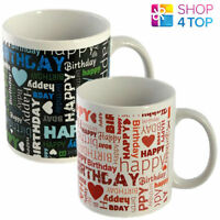 HAPPY BIRTHDAY BLUE RED CERAMIC COFFEE TEA MUG CUP GREETINGS NOVELTY GIFTS NEW