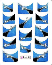 Nail Art Water Decals Stickers Transfers Blue Zips French Tip (B131)