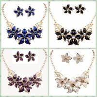 Women Gold Plated Jewelry Set Big Flower Design Statement Earings Necklace Sets