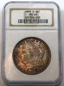1898 O Morgan Silver Dollar - NGC Certified MS 64, Toned !!