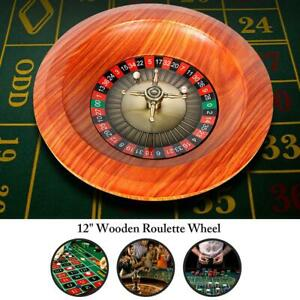"""12"""" Wooden Roulette Wheel Set Turntable Leisure Table Games Party Toys"""