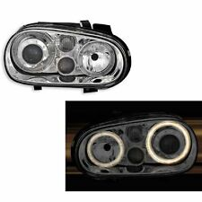 2 PHARES ANGEL EYES VW GOLF 4 BERLINE BREAK 8/1997-6/2006 CHROME LED TYP2