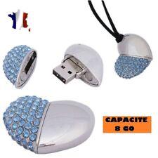 PENDANT AND NECKLACE SILVER USB KEY 8 GB-CORE DIAMOND-RHINESTONES BLUE
