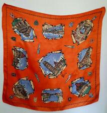 Pisa Orange Silky Shiny Satin Vintage Souvenir Scarf