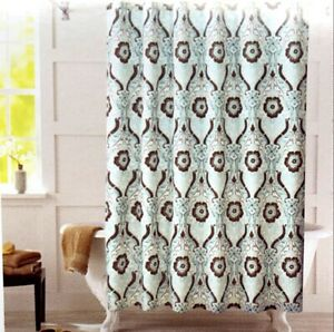 Better Homes & Gardens Seafoam Green and Brown Newcastle Fabric Shower Curtain