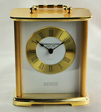 London Clock Company Gold Finish Westminster Chime Carriage Clock 02062