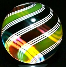 """HOT HOUSE GLASS MARBLE/1.212""""-BANDED SWIRL # 786-TRANSPARENT FUCHSIA,YELLOW,TURQ"""
