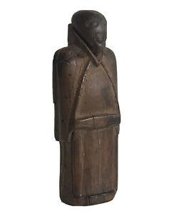 Boite à priser tabatière en bois forme de Moine XIXe 19e à identifier Secouette