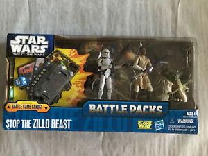Star Wars The Clone Wars Battle Packs STOP THE ZILLO BEAST Yoda Mace Windu New