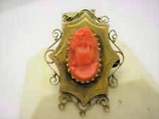 Victorian 9ct Gold Carved Natural Coral Brooch Pin