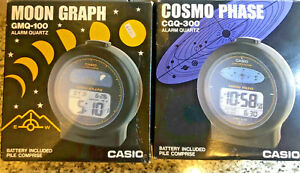 Casio moon graph GMQ100 & CGQ300 Cosmo Phase alarm clocks japan 1985 Combo