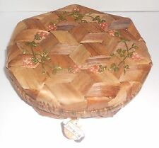 Vintage Paul Marshall Tiki Lidded Basket Woven w/ Flowers ~ Sewing Buttons Htf