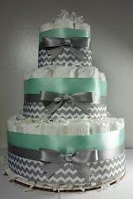 3 Tier Diaper Cake - Mint Silver/White Chevron - Baby Shower Centerpiece