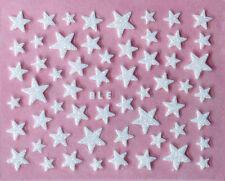 Nail Art 3D Glitter Decal Stickers White Stars Glittery