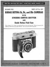 Kodak Retina Ib, IIc, IIIc & Compur Shutter Parts List with Exploded Views
