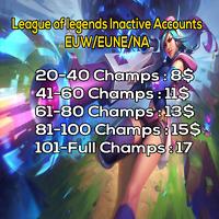 League of legends accounts EUW/EUNE/NA