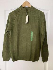 PULL&BEAR Men's Olive Green Khaki High Neck Knit Sweater Jumper BNWT Size XS
