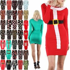 Womens Xmas Bodycon Ladies Christmas Elf Santa Claus Father Costume Mini Dress