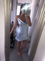 Motel Rocks Asos Paiva Dress In Satin Powder Blue Size M