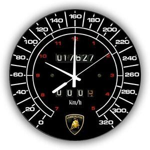 "LAMBORGHINI COUNTACH 300X300  12"" SPEEDOMETER METAL TIN SIGN WALL CLOCK"