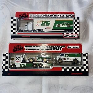 Matchbox Super Star 1991 Convoy Ken Schrader #25 Exxon Hendrix & Transporter NIP