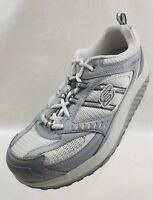 Skechers Womens Shape Ups 11814 Gray White Leather Sneakers Lace Up Size 9