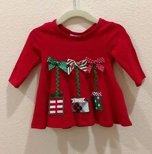 New BONNIE BABY Size 3-6 Christmas Dress Bows Rick Rack Red & Green