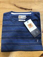 FARAH®  'Haggerston' Stripe T-Shirt/Night Sky Marl - Large New SS20