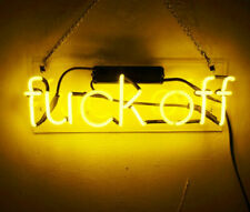 "Fvck off Neon Lamp Sign 14"" Acrylic Bright Lighting Bar Display Real Glass Decor"