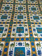 INDIAN 100% COTTON DOUBLE SIZE TURQUOISE  CAMEL and GUJRI PRINT BEDSPREAD