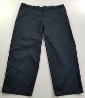 George Men's Chino Pants 44 X 30 Dark Navy Blue Flat Front Zipper Fly Pockets