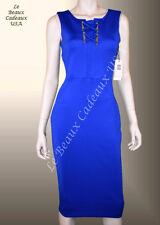 IVANKA TRUMP Women Dress Size 12 BLUE Knee GOLDEN ACCT Sleeveless Dressy LBCUSA
