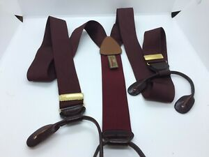 Trafalgar Burgundy Red Woven Web Suspenders Leather Button Fittings
