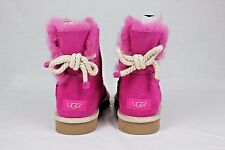 UGG Selene Nautical Rope Bow Furious Fuchsia Suede Sheepskin Boots Size 7 US