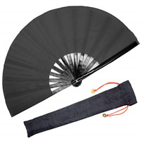 Large Rave Folding Hand Fan for Men/Women Handheld Fan with Fabric Case Black