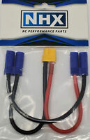 """NHX XT60 Female to 2 EC5 Male Series 12 AWG 6"""" Silicone Wire Harness"""