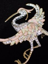 LAKE GIRL BABY SHOWER PINK STORK FLYING EGRET HERON BIRD PIN BROOCH JEWELRY 2.5""