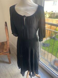 VINTAGE 70's BLACK BOHO TEA DRESS UK 8/10 SMALL
