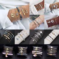 1Set Womens Boho Bracelet Map Bead Love Heart Tassel Bangle Cuff Jewellery Gifts