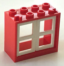 *NEW* LEGO RED Window 2x4x3 with 2 WHITE Half Panes 4132 4133