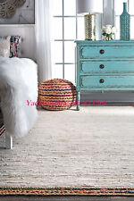 Floor Decor Carpet Weave Rag Mat Hand Crafted 4 X 6' Jute Mat Cotton Dhurrie Rug