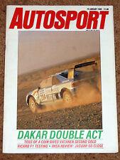 Autosport 19/1/89* PARIS-DAKAR, IMSA REVIEW, TWR FEATURE, REYNARD 89D POSTER