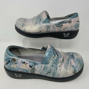 Alegria Womens Keli Loafer Blue Leather Slip On Shoes Clogs 39 Size 9