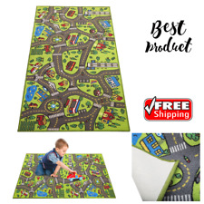 """Race Car Track Rug Play Mat Extra Large 79"""" X 40"""" For Kids Carpet Road Toy Floor"""