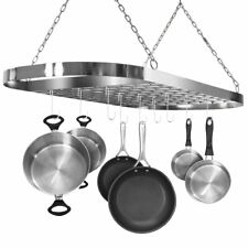 Hanging Pot Rack Ceiling Mount Stainless Steel Oval Hooks Pan Kitchen Organizer